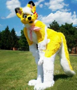 Long Fur Husky Dog Fox Mascot Costume Fursuit Suit Cosplay Fancy Dress Outfits