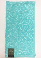 "NEW STYLE SANCTUARY AQUA BLUE COTTON+VISCOSE SWIRL DESIGN BATH TOWEL 28"" x 52"""