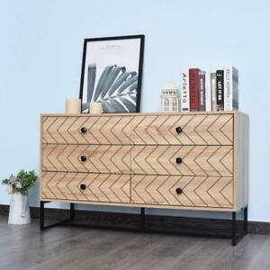 Vintage Chest 6 Drawers Retro Sideboard Cabinet Bedroom Organizer Storage Unit