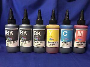 600ml Bulk Refill Ink for HP Epson Canon Brother inkjet printer 4color extra 2BK
