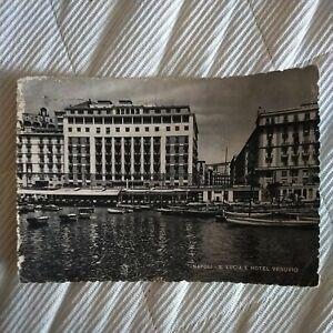 🌎 NAPOLI Santa Lucia Hotel Vesuvio 1950 Cartolina VG