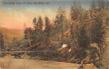 Foot Bridge Eel River UKIAH, CA Mendocino Co. 1909 Hand-Colored Vintage Postcard