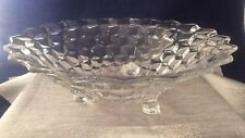 Vintage Jeanette Clear Glass Cube Pattern Footed Serving Bowl 10 1/2""