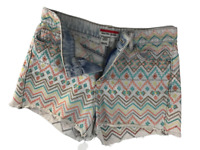 Women's Denim Jeans Short Kiss Hot Pants Colourful Jeans Embroidered Size 1