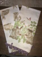 Set/2 Embroidered Easter Bunny Rabbits Purple Pom Poms Kitchen Cotton Towels NEW