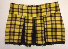 VTG c. 1990s BLEST Yellow Plaid Black Lace Pleated Mini Skirt w/ Silver Studs LG
