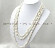Genuine natural super long 100 inch 7-8mm white akoya cultured pearl necklace