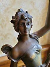 Art Nouveau Emile Guillemin Spelter Figural Lady Lamp Marble base