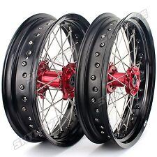 "CR 125 250 CRF 250 450 X R Complete Black Wheel Rims Red Hubs 17""/17"" SUPERMOTO"