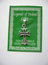Sterling Silver Celtic Irish Gothic Cross Pendant New