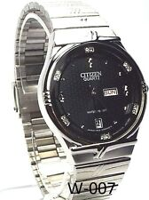 New Citizen Japan Quartz Movement, , Silver-tone, Black-dial, Men  Dress Watch