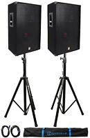 "(2) Rockville RSG15 15"" 3-Way 1500 Watt 8-Ohm DJ PA Speaker +Stands +Cables"