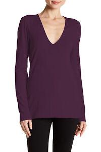 James Perse Plum V-Neck Long Sleeve T-Shirt