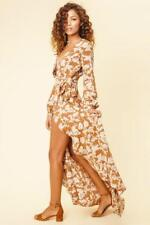 Flynn Skye Monterry Maxi Dress Brown Size Small UK 6-8 Dh087 LL 04