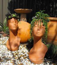 Terracotta clay lady head pot, planter,garden pots, 43cm- tall