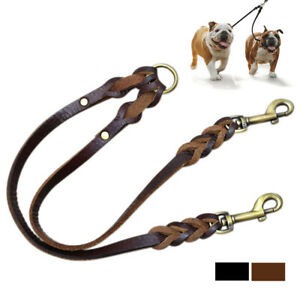 Genuine Leather Dog Couple Leash Brown Black Pet Dual Walking Leads for 2 Dogs