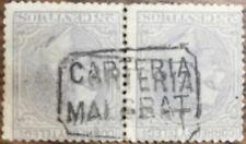 Alfonso XII 25 c. 1879 Matasellos Carteria Malgrat Edifil 204 Bloque Dos Sellos