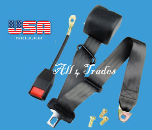 1 Kit of 3 Point Strap Retractable & Adjustable Safety Seat Belt Black