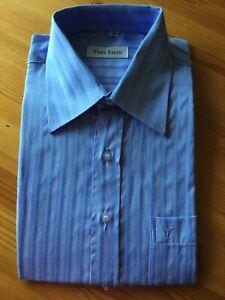 "Men's Short-sleeved Blue Shirt - collar 15"""