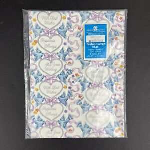 NOS Vtg Wedding Gift Wrap Wrapping Paper American Greetings GW1569G 8.33 SQ FT