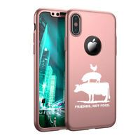For iPhone X XS Max XR 360° Thin Case Friends, Not Food Vegan Farm Animal Rights