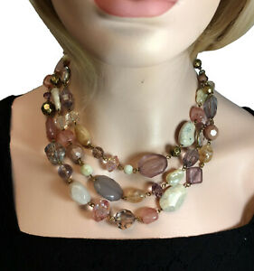 Premier Designs Layered Pink Faux Crystal & Stone Necklace NWOT