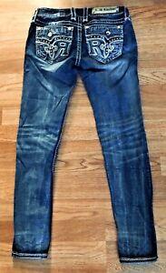 WOMENS Rock Revival SUNDEE Rhinestone Faux Pocket Ankle Skinny Jeans 26x27