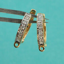 14k Solid Yellow Gold Diamond Fancy Rounded Leverback Earwires