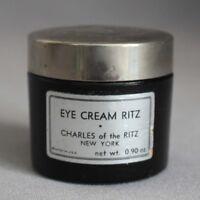 Vintage CHARLES OF THE RITZ New York EYE CREAM RITZ Black Glass Jar ART DECO LID
