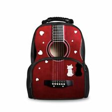 Big School Backpacks Red Guitar Backpack for High Schoolers Womens Shoulder Bag