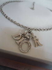 """DIOR Stunning Silver Tone Chain Necklace Logo Letters Charms New Mint 45cm 18"""""""