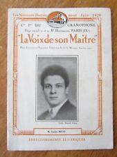 CATALOGUE DES DISQUES LA VOIX DE SON MAITRE JUIN 1929 GRAMOPHONE