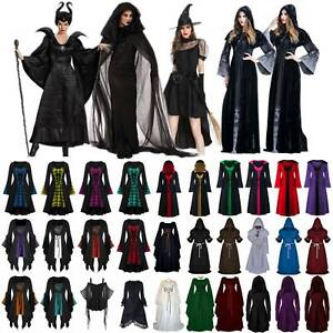 Women Christmas Costume Witch Renaissance Gothic Medieval Gown Hooded Cape Dress