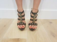 C Label FABR-5 Studded T-Strap Platform Sandals Faux Leather Vegan - Black / 8