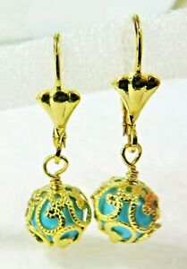 """Gold Filled Earrings 9mm Turquoise Blue Ball  1"""" Drop"""