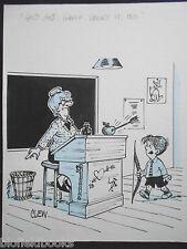 """Clifford C Lewis """"de Clew"""" Original Pen & Ink Cartoon-Tir à L'Arc écolier #340"""