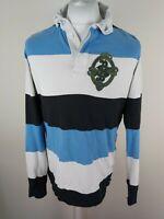 Mens Superdry Long Sleeve Rugby Polo Shirt Blue Stripe raw Edge Medium 42 chest