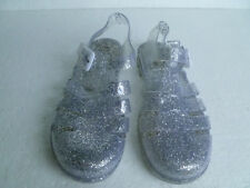 Transparent & Silver Glitter Jelly Sandals (UK 5) Very Good Condition