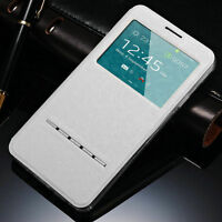 Slim Flip Window View Leather Smart Case Cover For Apple iPhone Samsung Galaxy G