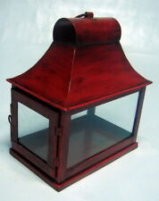 Candle Hunter's Lantern Red Rectangular Iron shape with door 30x26x16cm