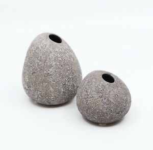 Pair of Concrete Faux Rock Vases from MOMA Design Store NYC, Small and Medium