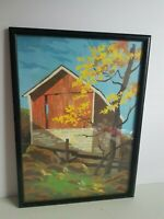 Oil Painting Framed Art Brick Wood Out Building Vintage