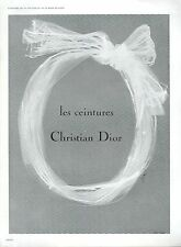 ▬► PUBLICITE ADVERTISING AD Ceinture Christian DIOR René GRUAU 1961