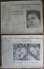 Two 1975 Boston Globe Sports Sections CASEY STENGEL OBITUARY, Ali vs. Frazier