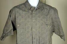 Men's Emmanuel Ungaro Italia Vintage Blue Beige Short Sleeve Shirt Medium