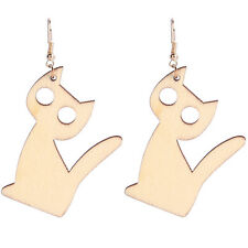 Cute Light Oak Wood Cats Dangling Earrings drops fashionable E1239