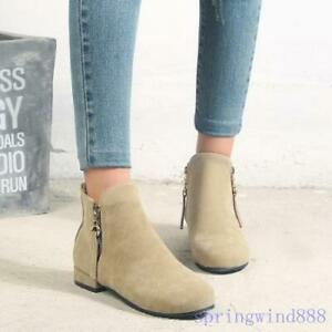 2020 Womens Block Heel Faux Suede Buckle Ankle Boots Winter Warm Snow Boots New