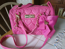 BETSEY JOHNSON FUCHSIA  QUILTED HEARTS SATCHEL PURSE REMOVABLE CROSSBODY STRAP