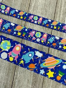Printed Grosgrain Ribbon 3 Widths in 1/3/5 Yards Space Rocket Ship Planets Stars