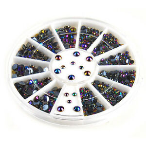 3D Nail Art Decoration Glitter Rhinestones BLACK AB Diamante Crystals 300 PIECES